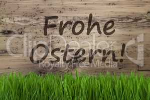Aged Wooden Background, Gras, Frohe Ostern Means Happy Easter