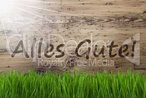 Sunny Wooden Background, Gras, Alles Gute Means Best Wishes