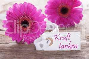 Pink Spring Gerbera, Label, Kraft Tanken Means Relax