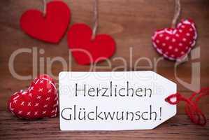 Read Hearts, Label, Herzlichen Glueckwunsch Means Congratulations
