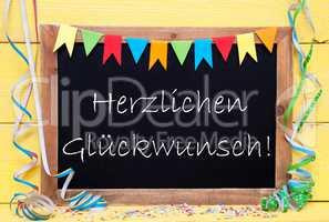 Chalkboard With Streamer, Herzlichen Glueckwunsch Means Congratulations