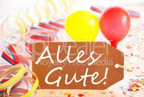 Party Label, Balloon, Streamer, Alles Gute Means Best Wishes