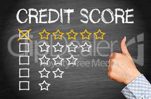 Positive Credit Score - five stars with thumb up