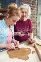 Grandmother and granddaughter making cookies