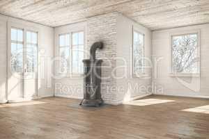 3d render - scandinavian empty room - chimney - winter
