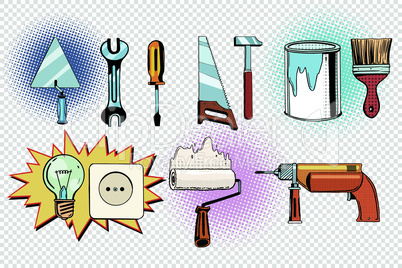 home tools and electrics, pop art set