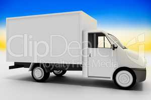 Delivery van as transporter, 3d illustration