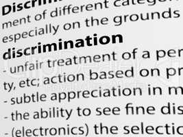 3d, definition of the word Discrimination on white paper.