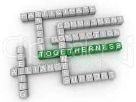 3d image Togetherness issues concept word cloud background