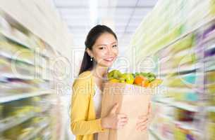 Buying groceries in supermarket