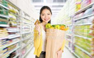 Buying groceries in marketplace