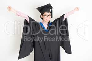 University student arms outstretched