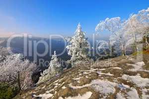 Elbsandsteingebirg,e Blick vom Teichstein - Elbe sandstone mountains in winter, Teichstein