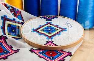 Traditional Slavic geometric pattern embroidered stitch cross