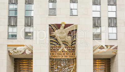 Wisdom, an art deco piece over the entrance of 30 Rockefeller plaza in New York