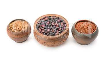 Pots with beans, rice and lentils