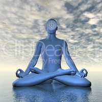 Deep blue ajna or third-eye chakra meditation - 3D render