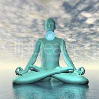 Blue vishuddhi, vishuddha or throat chakra meditation - 3D render