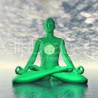 Green anahata or heart chakra meditation - 3D render