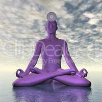 Violet purple sahasrara or crown chakra meditation - 3D render