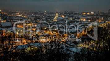 Vilnius winter aerial panorama of Old town.