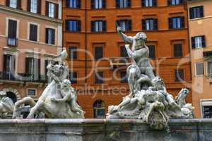 Fontana del Nettuno, fountain of Neptune, Piazza Navona, Roma, Italy