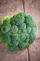 Green fresh head of Broccoli on a stone surface