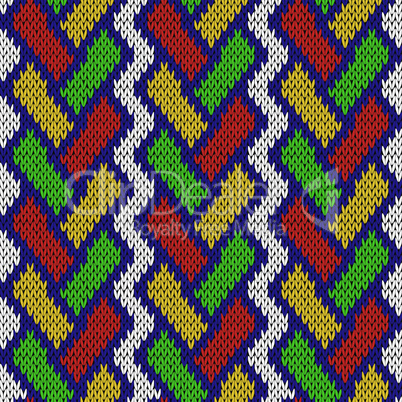 Knitted seamless pattern with intertwining lines