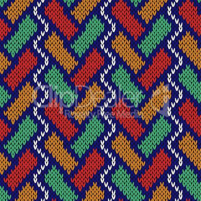 Geometrical zigzag seamless knitted pattern