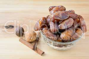 Dates in glass bowl