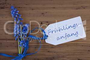 Grape Hyacinth, Label, Fruehlingsanfang Means Beginning Of Spring