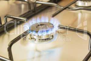 gas burning from a stove