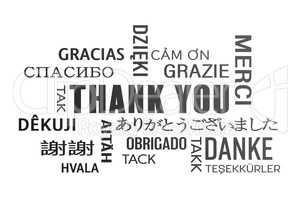 word cloud  - thank you - black