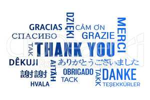 word cloud  - thank you - blue
