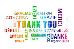 word cloud  - thank you - colorful