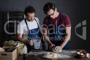 Bakers preparing dough