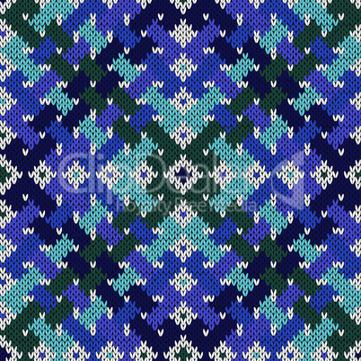 Intertwining seamless knitted pattern in cool hues