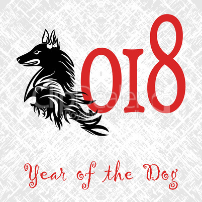 Puppy animal concept of Chinese New Year of the Dog grunge vector file organized in layers for easy editing.