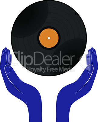 Hands hold vinyl record disk isolated white. Save, buy, enjoy, play it design vector.