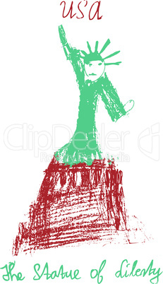 American statue of liberty USA illustration kid style vector illustration