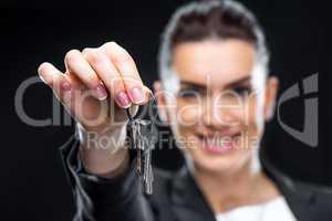 Businesswoman holding keys