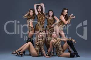 Female dance group in sexy leopard swimsuits