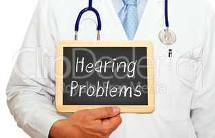 Doctor with Hearing Problems Chalkboard