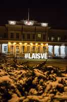 Night view of the Presidential Palace in Vilnius