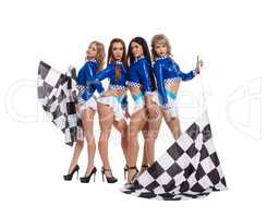Sexy slim girls in formula 1 style shot jackets