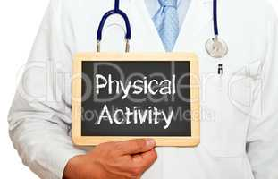 Doctor with Physical Activity chalkboard