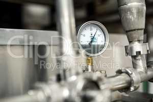 View of preassure indicator at milk factory