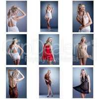 Different color transparent neglige set of photoes