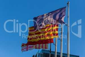 Flags in the wind in Spain