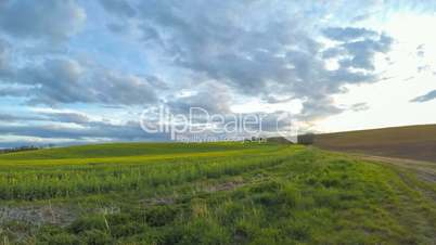 Clouds over the Spring Fields. Rotatable Time Lapse